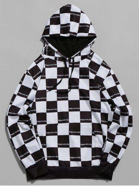 fashion Plaid Print Color Block Casual Hoodie - BLACK S
