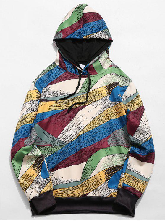 fancy Abstract Art Design Pullover Drawstring Hoodie - MULTI-B XL