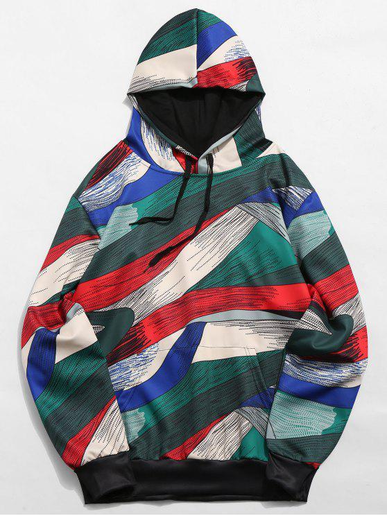 抽象芸術デザインプルオーバー巾着パーカー - マルチA XL