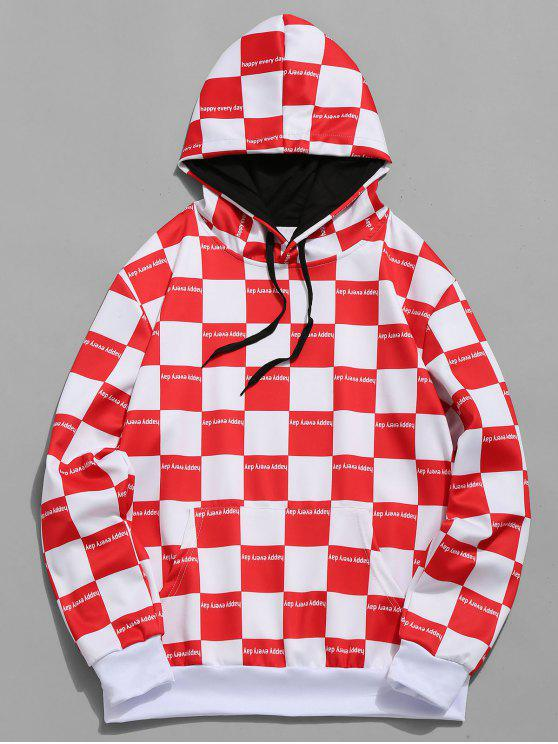 online Plaid Print Color Block Casual Hoodie - RUBY RED XL