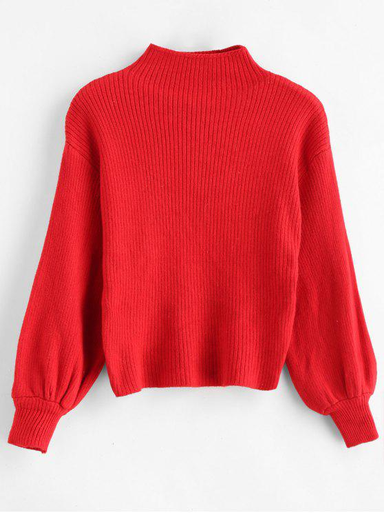 womens Pullover Blouson Sleeve Ribbed Funnel Sweater - RED ONE SIZE