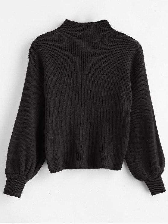 women Pullover Blouson Sleeve Ribbed Funnel Sweater - BLACK ONE SIZE