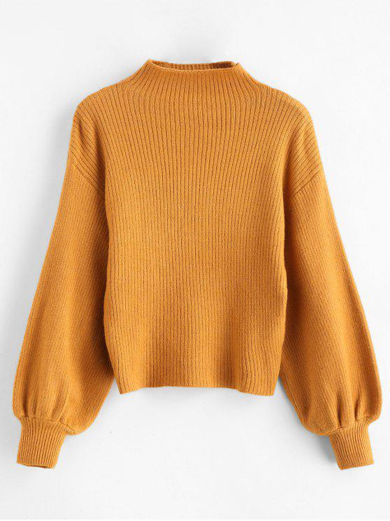 womens Pullover Blouson Sleeve Ribbed Funnel Sweater - TIGER ORANGE ONE SIZE