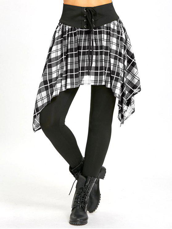 buy Asymmetric Plaid Lace Up Skirted Leggings - WHITE M