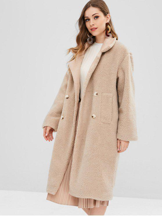 lady Faux Fur Fluffy Textured Winter Teddy Coat - CAMEL BROWN ONE SIZE