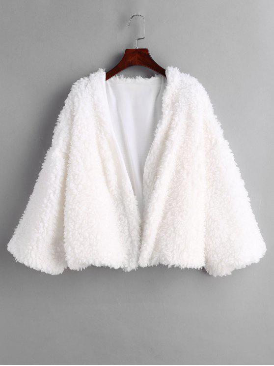 Flauschiger Teddy-Mantel - Weiß Eine Größe