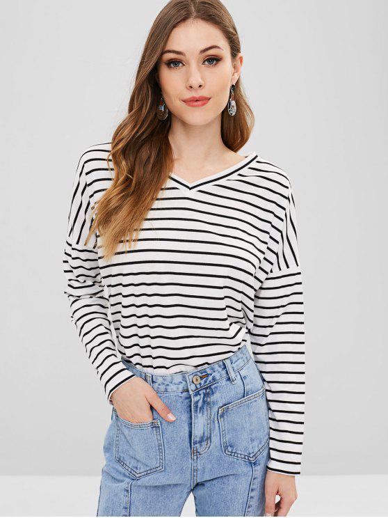 T-Shirt A Righe Con Scollo A V - Bianca L