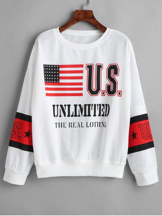 Hängender Schulter Sweatshirt mit Amerikanischer Flagge WHITE