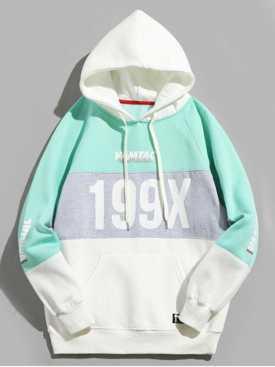199X Graphic Fleece forrado colorblock Hoodie - Azul Verde Guacamayo  XL