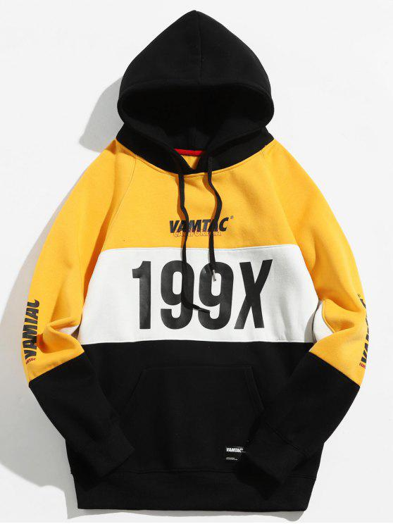 199X Graphic Fleece forrado colorblock Hoodie - Caucho Ducky Amarillo L