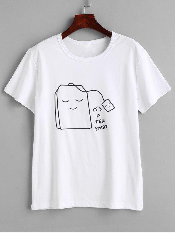 unique Tea Graphic T-shirt - WHITE M