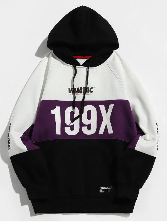 199X Graphic Fleece gefütterter Colorblock Hoodie - Lila XL