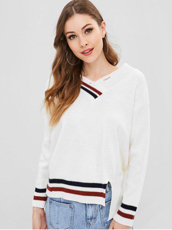 Suéter de cricket asimétrico rasgado - Blanco Cálido Talla única