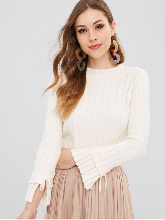Gerippter Pullover mit gerafften Ärmeln - Weiß Eine Größe