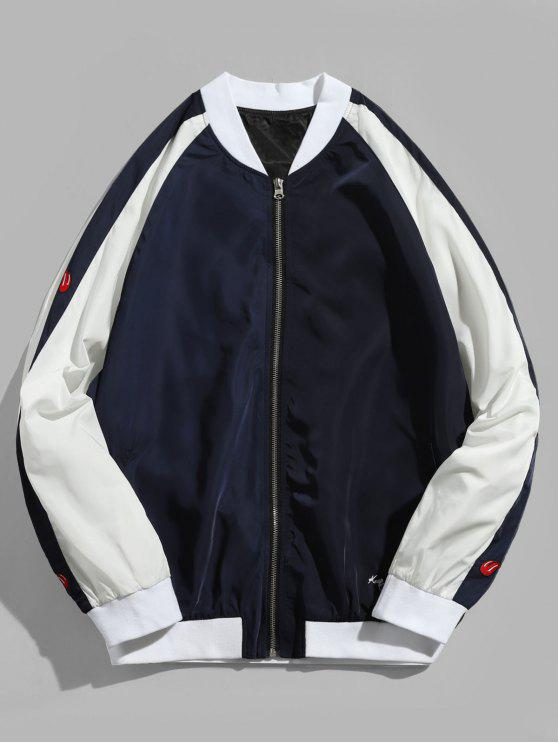 Sigue luchando bordado raglán mangas chaqueta de béisbol - Lapislázuli XL
