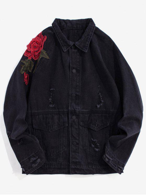 Veste Florale Brodée Déchiré Délavée en Denim - Noir Taille Unique