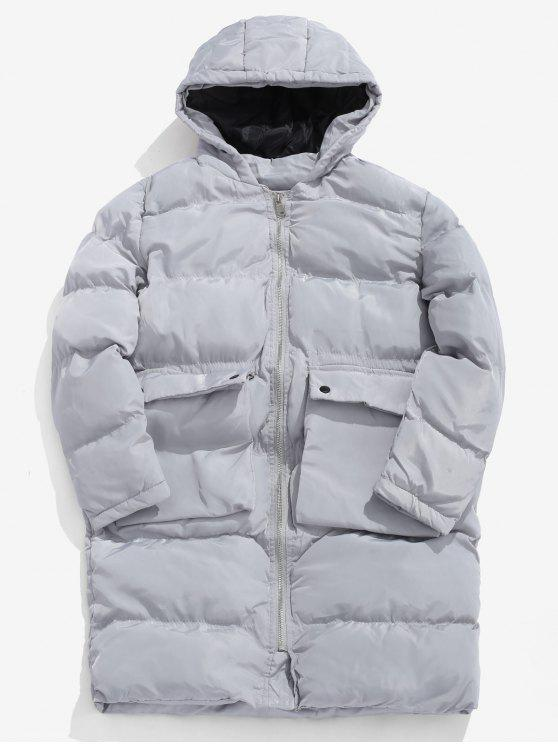 Manteau du Duvet Doudoune Solide Matelassé - Gris M