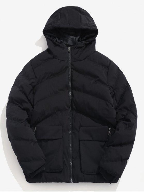 women's Padded Lined Hooded Puffer Jacket - BLACK M