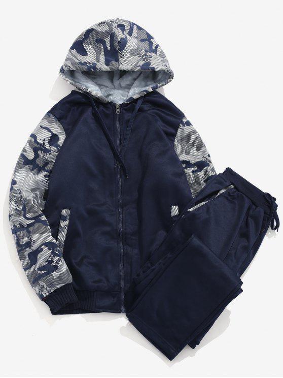 Giacca E Pantaloni Sportivi Con Fodera In Pelliccia Sintetica - blu scuro L