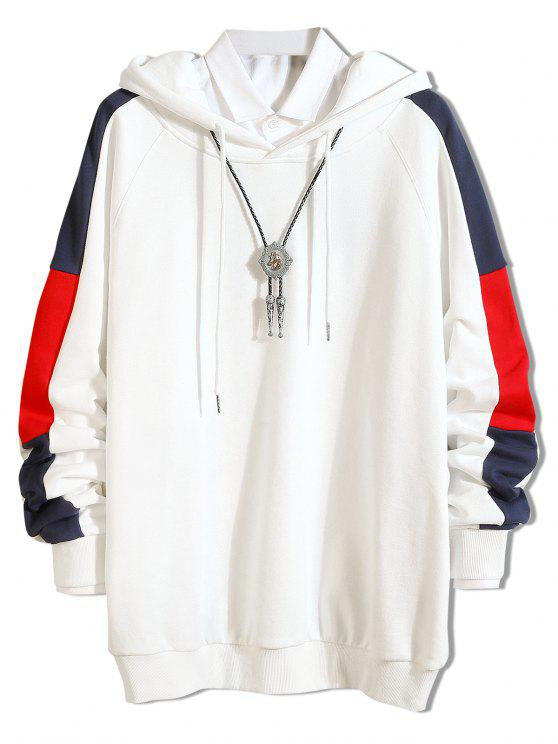 lady Side Stripe Contrast Casual Hoodie - WHITE M