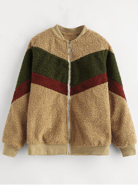 2019 Zip Up Colorblock Fuzzy Coat In Brown S Zaful
