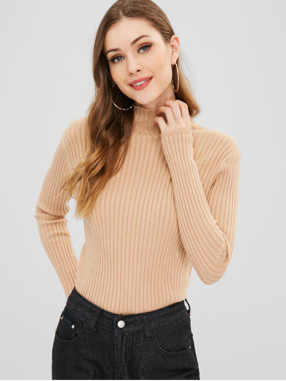 buy Basic Mock Neck Sweater - TAN ONE SIZE