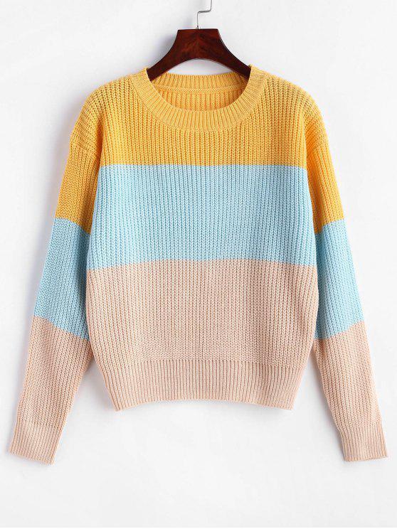 fancy ZAFUL Color Block Striped Sweater - MULTI-A ONE SIZE