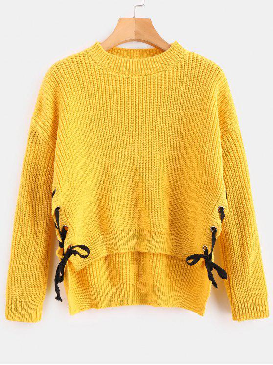 shop Contrast Lace Up Side Sweater - MUSTARD ONE SIZE