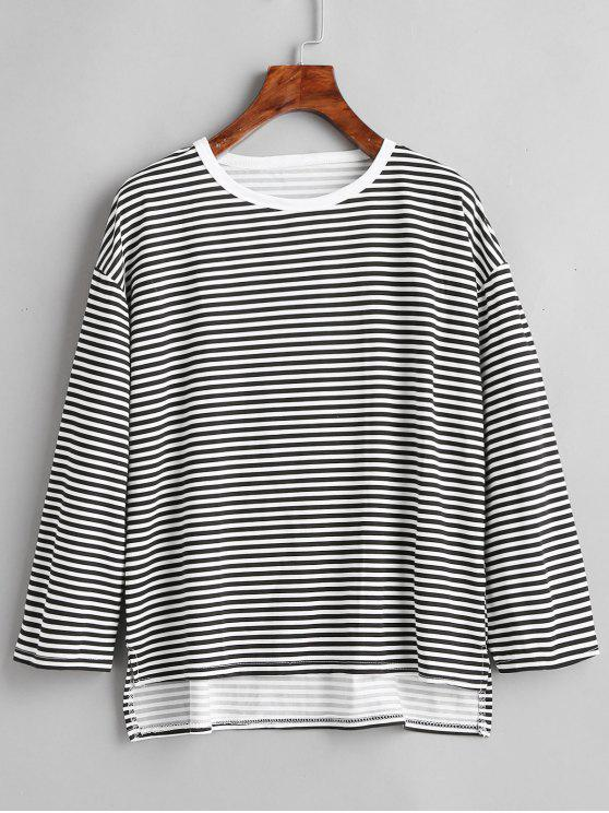 T-Shirt Asimmetrica A Righe Con Spacco - Nero M