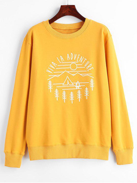 Viva La Adventure Grafik-Sweatshirt - Helles Gelb L