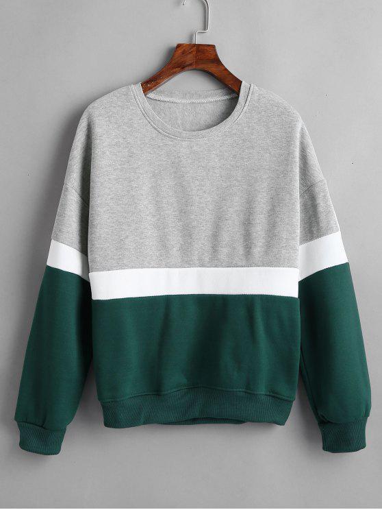 Langarm-Farbblock-Sweatshirt - Multi S