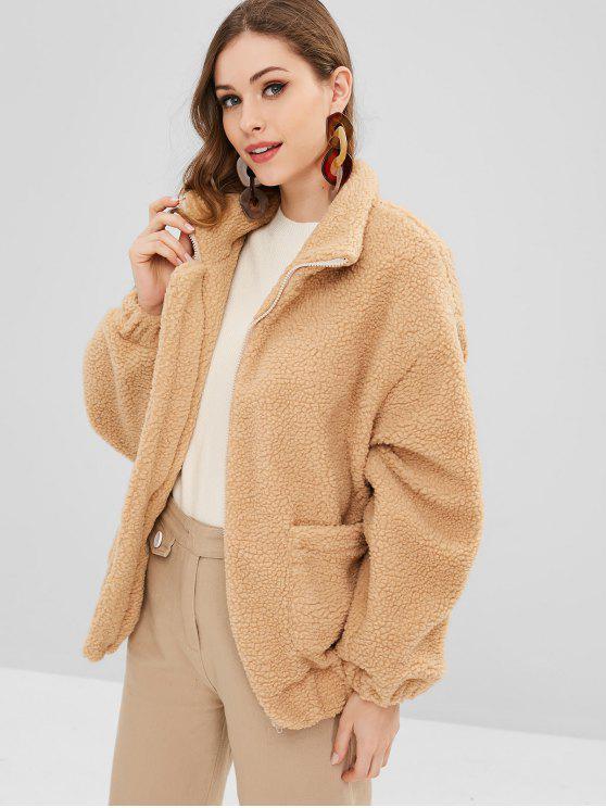 shops Zip Up Pockets Faux Fur Coat - TAN S