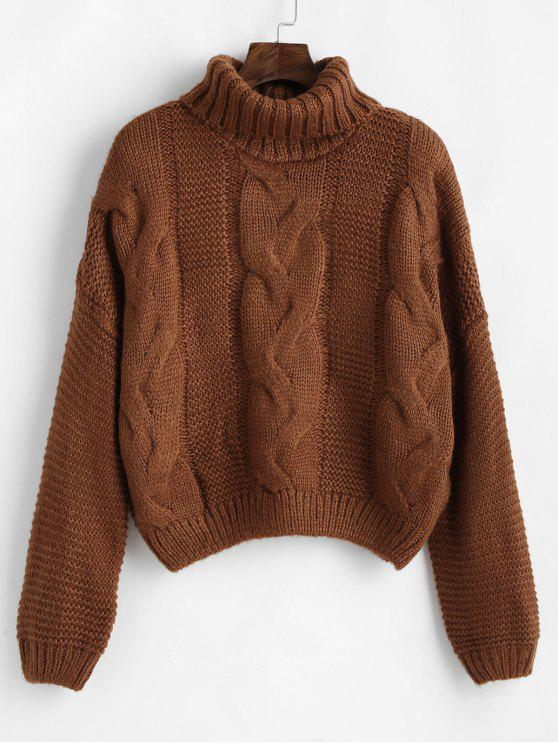 outfit Drop Shoulder Cable Knit Turtleneck Sweater - BROWN ONE SIZE
