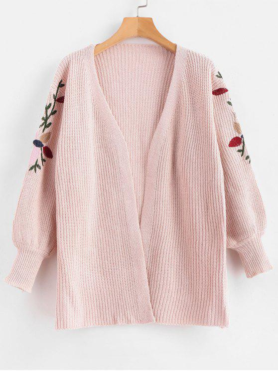 online Floral Embroidered Open Front Cardigan - LIGHT PINK ONE SIZE