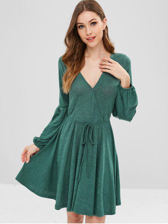 chic ZAFUL Plunge Surplice Knit Lantern Sleeve Dress - SEA TURTLE GREEN XL