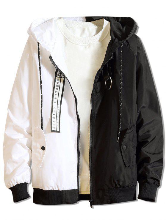 hot Color Block Letter Patchwork Hooded Jacket - BLACK M