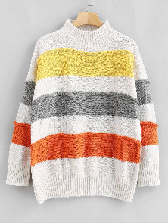 lady Drop Shoulder Wide Striped Sweater - MULTI ONE SIZE
