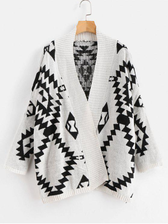buy Geo Jacquard Open Front Oversized Cardigan - MULTI ONE SIZE