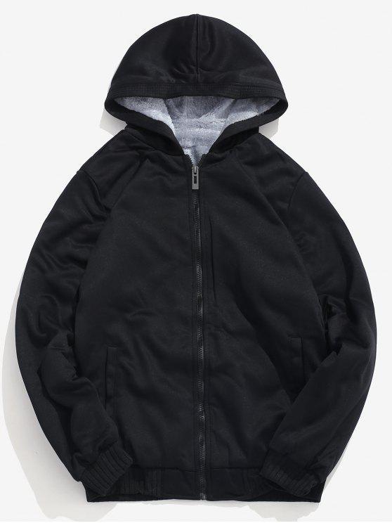 unique Solid Faux Fur Lined Sweatshirt Jacket - BLACK M