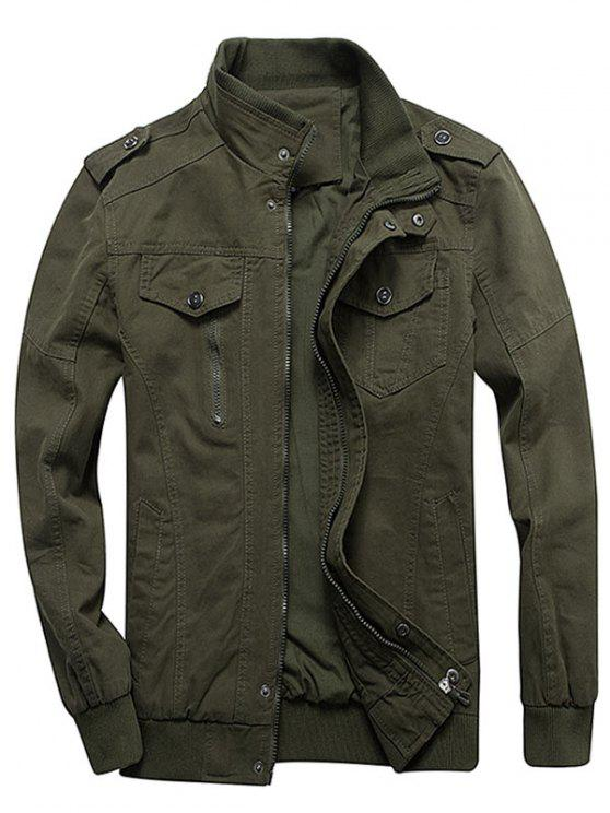 lady Zip Up Stand Collar Cargo Jacket - ARMY GREEN 2XL