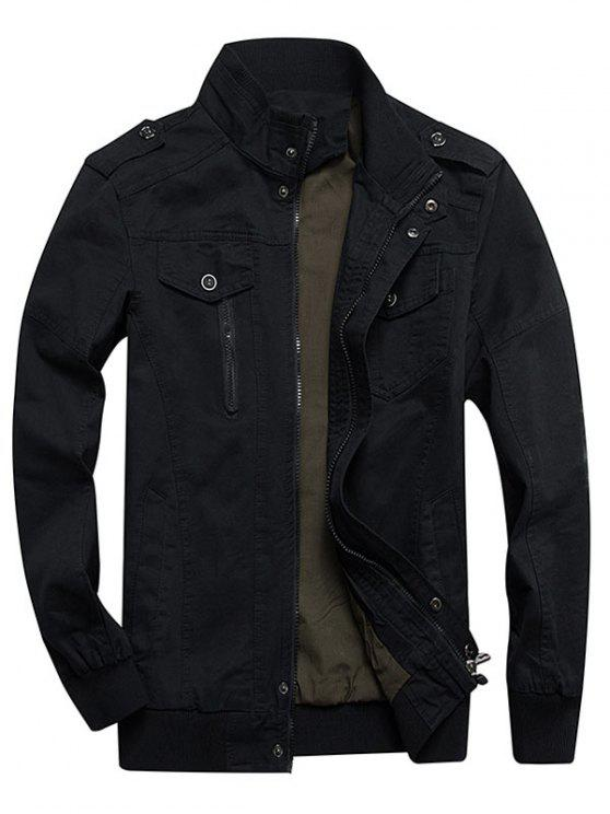 fancy Zip Up Stand Collar Cargo Jacket - BLACK XS