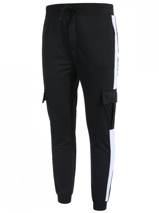 shop Side Stripe Pockets Patchwork Contrast Jogger Pants - BLACK M