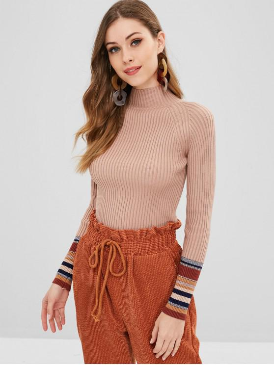 fancy Striped Trim Slim Ribbed Sweater - DARK SALMON ONE SIZE