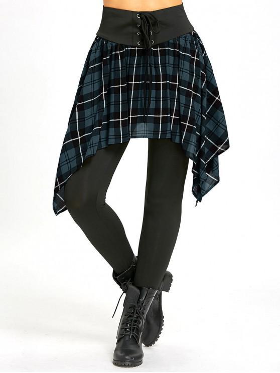 women's Asymmetric Plaid Lace Up Skirted Leggings - LIGHT BLUE L