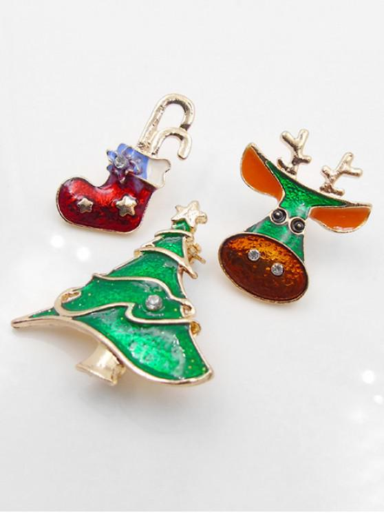 Rhinestone Decor Elk Tree Brooch Set - Ouro
