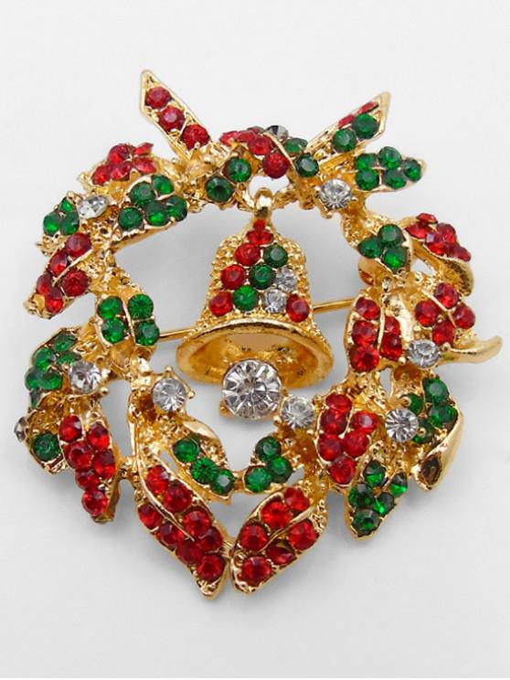fancy Christmas Bell Artificial Crystal Brooch - GOLD