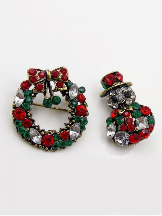 new Bowknot Garland Snowman Rhinestone Brooch - WOOD