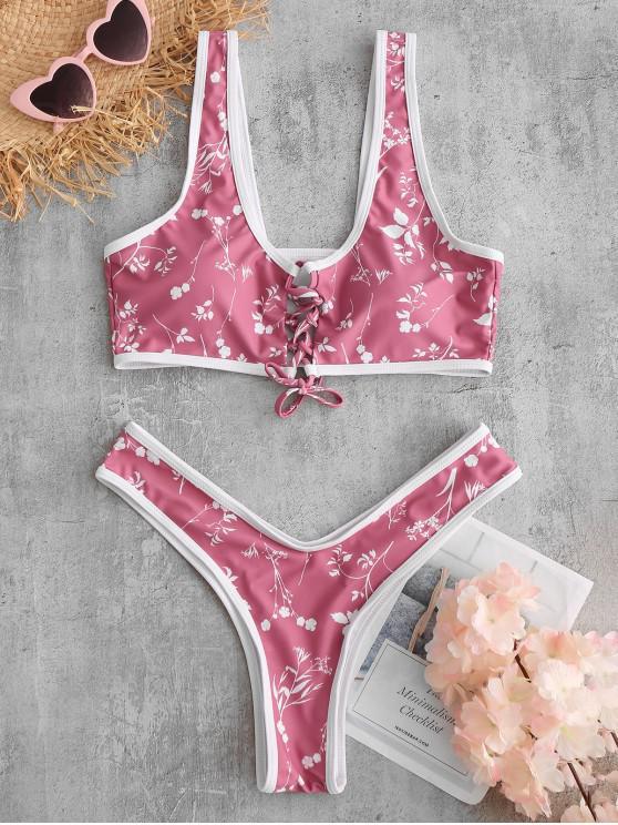 Bikini Floral de Pierna Alta con Cordones de ZAFUL - Lápiz Labial Rosa L