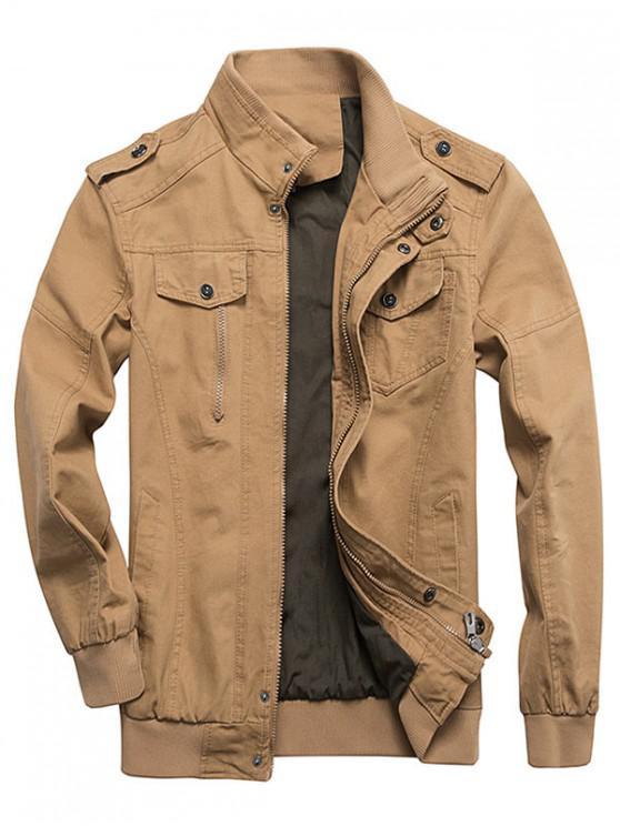 fashion Zip Up Stand Collar Cargo Jacket - KHAKI S
