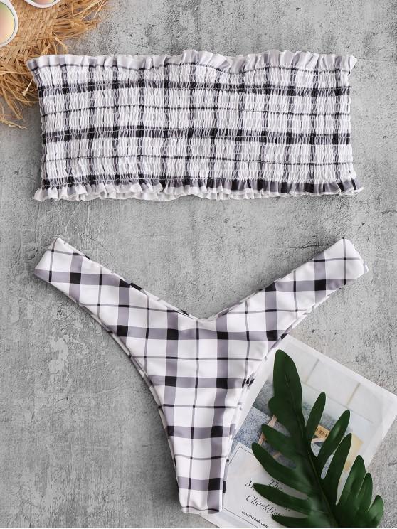 ZAFUL  Kariertes gerafftes Bandeau-Bikini-Set mit Rüschen - Weiß S